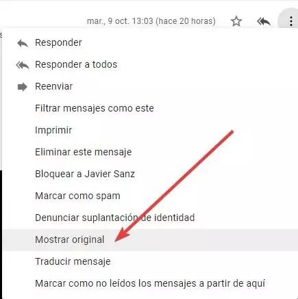 Descargar email original Gmail