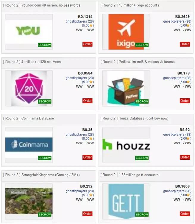 8 bases de datos robadas Dream Market