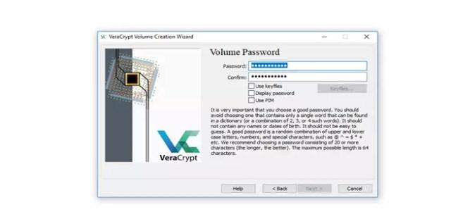 Poner contraseña en VeraCrypt