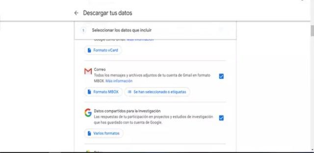 Descargar datos de Gmail