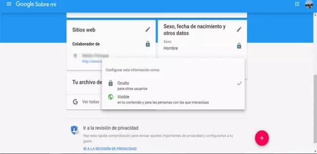 Ocultar datos compartidos en Google
