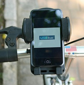 iphonebikeholder small iPhone Bike Mount   watch movies while youre pedaling...no wait...