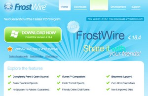 frostwire small FrostWire   open source P2P freeware combines iTunes with BitTorrent