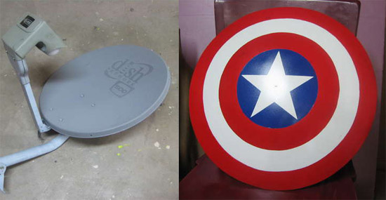 Turn your old satellite dish into Captain America's shield