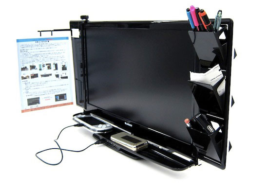 Move the clutter from your desk to your monitor with the LCD Monitor Hub Station