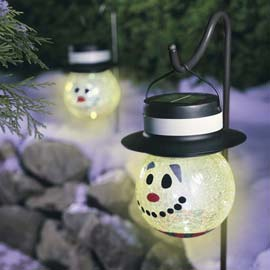 Solar powered Snowmen and other colorful Christmas LEDs