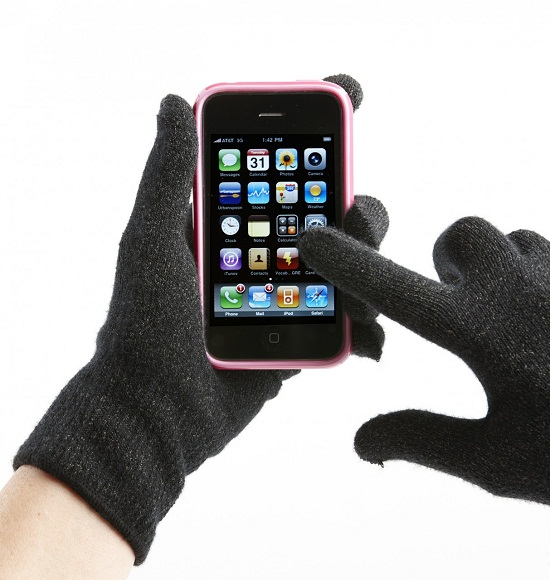 Agloves work with touchscreens, look like regular gloves