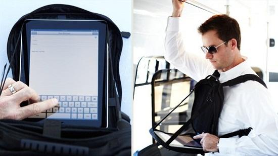 Defender backpack also works as a tablet holder