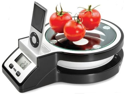 Joy electronic kitchen scale with iPod station