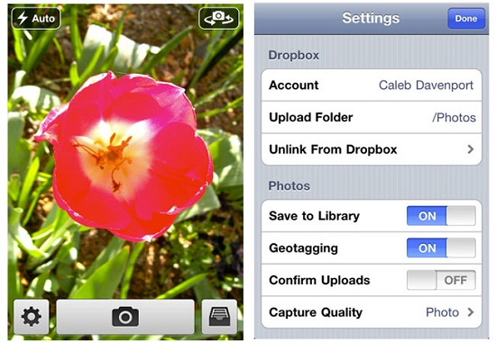 Quickshot camera app saves photos from your iPhone directly to Dropbox
