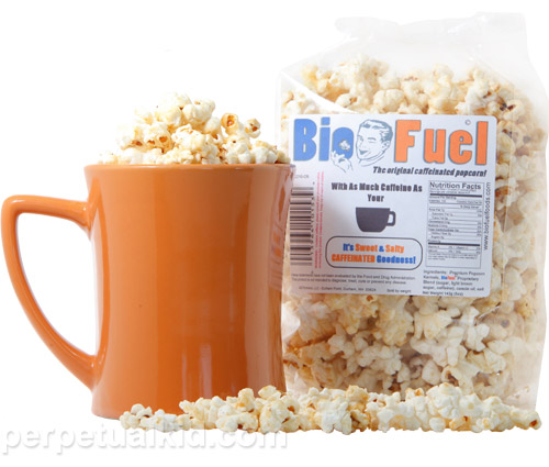 Get a boost with BioFuel Caffeinated Popcorn