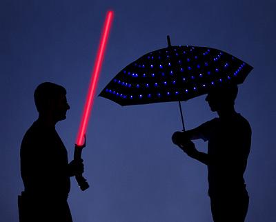 Lumadot LED Umbrella lights your way on those dark, stormy nights