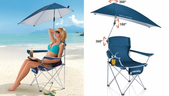 Super-Brella Chair blocks out the sun, no matter where it is