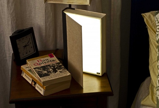 Turn an old book into a bedside lamp