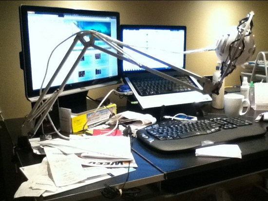 Turn a desk lamp into a swinging mic stand