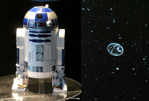 R2-D2 planetarium shows the Death Star in the night sky