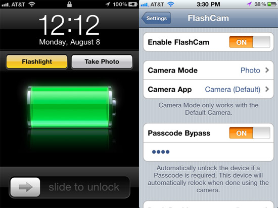 flashcam FlashCam adds dedicated photo and flashlight buttons to your jailbroken iPhones lock screen