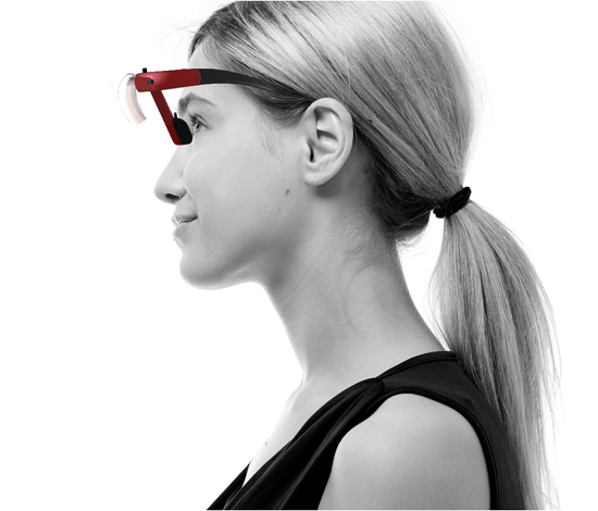 Seqinetic Wearable Light is the reverse of a pair of sunglasses