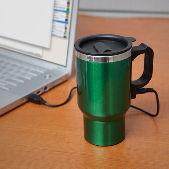Dual Heated Travel Mug makes sure you have hot coffee all day long