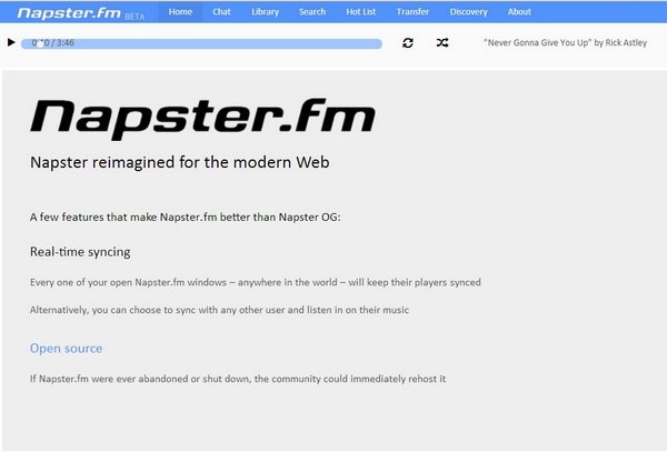 Napster FM – awesome open source web app streams your music library anywhere, anytime [Freeware]