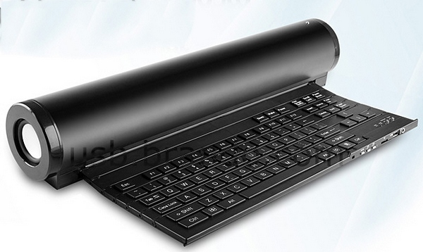 USB Folded Keyboard With MP3 Player – music while you work?