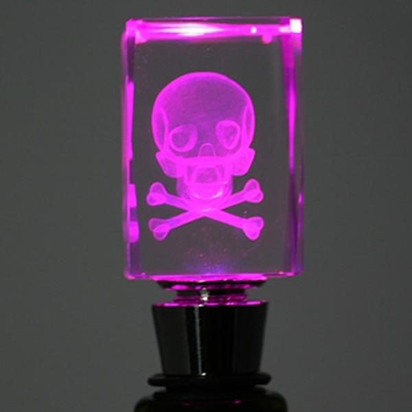 Light-Up Skull Bottle Stopper - skull and crossbones; not just for poison anymore