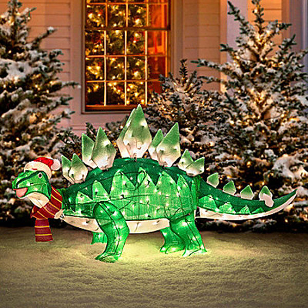 Animated Tinsel Dinosaur Christmas Decoration – Because nothing says Christmas like a stegosaurus in your yard