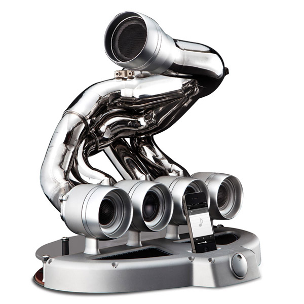 Formula One Speaker Dock – And you thought the rumble of an engine would be the only sweet noise coming out of these pipes