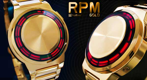 TokyoFlash Kisai RPM Gold LED Watch