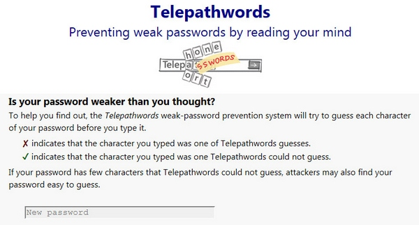 Telepathwords – just how guessable is your password?