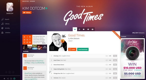 baboom Baboom   Kim Dotcom returns with an awesome demo of his new music service