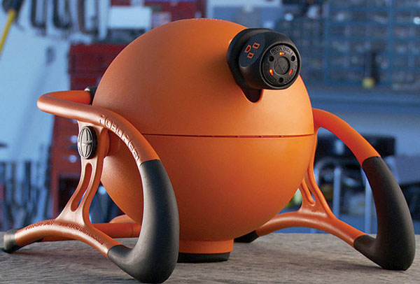RoboRreel Power Cord System – slick looking ball stores 50 foot of power cable safely and securely