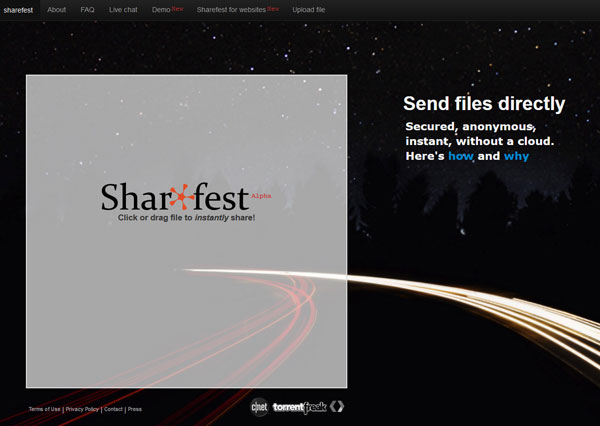 Sharefest – send and share any size file in an instant with your browser, no sign up