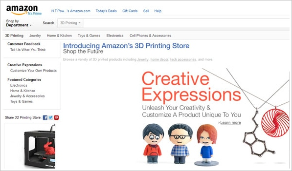 Amazon 3D Printing Store – suddenly 3D printing isn't a fad any more