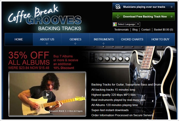 Coffee Break Grooves – these backing tracks are the next best thing to having your own jam band in the bedroom