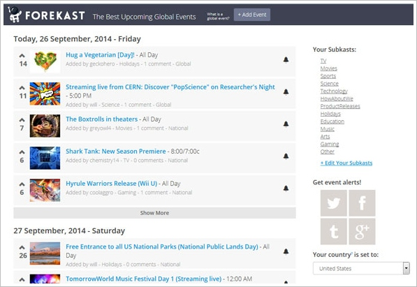 Forekast – keep track of your favorite events and entertainment so you don't miss anything cool