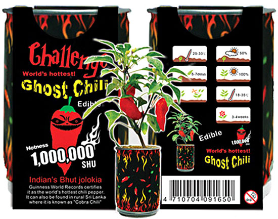 Ghost Chilli Growing Kit – the hottest pepper in the world comes to your windowsill, and good luck with that…