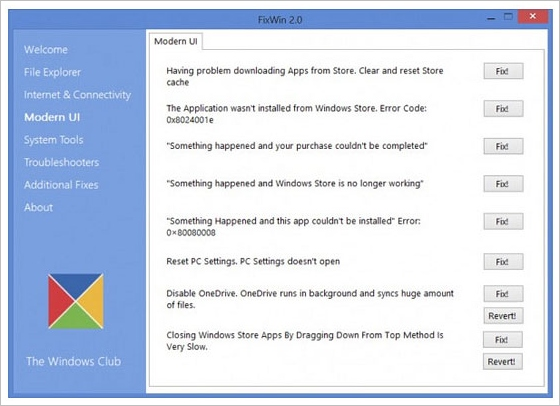 FixWin 2.0 for Windows 8 – cool little utility fixes Windows 8 annoyances with a click [Freeware]