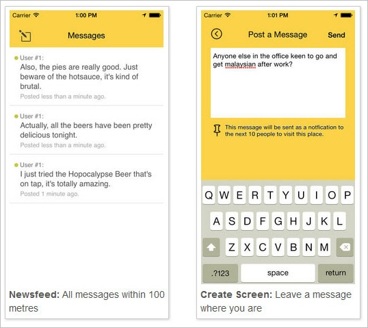 Herenow – leave messages for the next person to arrive at your location [Freeware]