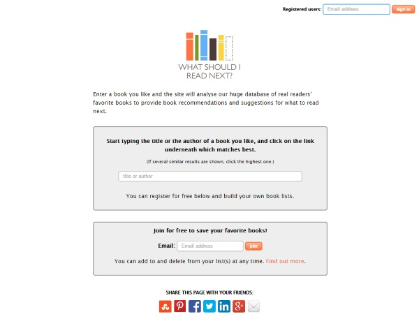 What Should I Read Next – the website that crowdsources your next book  [FREEWARE]