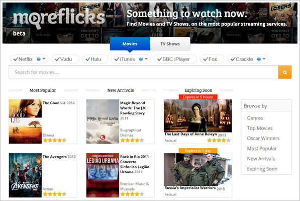 Moreflicks – what movies and TV shows are on the streaming services right now?