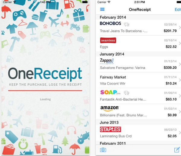 OneReceipt – keep track of your receipts right from your phone