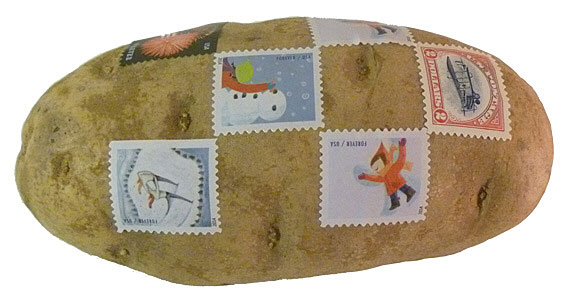Mail A Spud – no box, no envelope, just a potato and some stamps