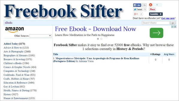 Freebook Sifter – 57,000 free e-books, constantly updated [Freeware]