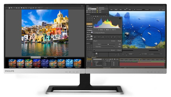 "Phillips 19"" Dual LED IPS Monitor – two screens, one stand"