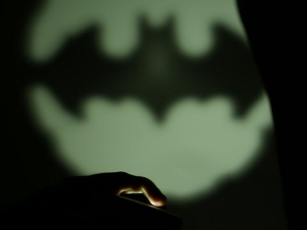 Mini Batsignal in use
