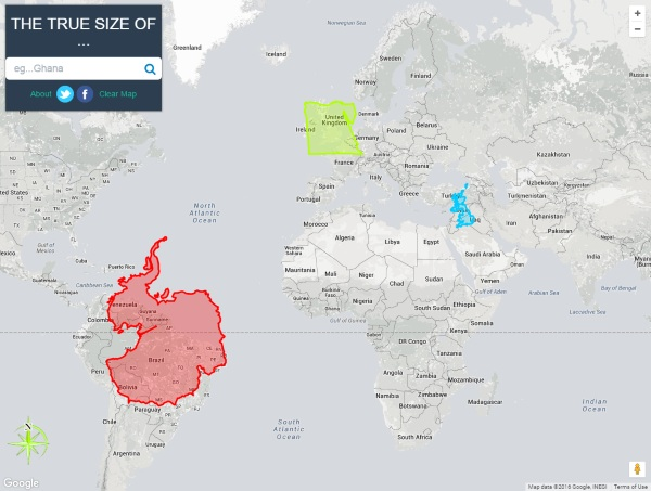 The True Size Of – maps lie, see how big countries really are