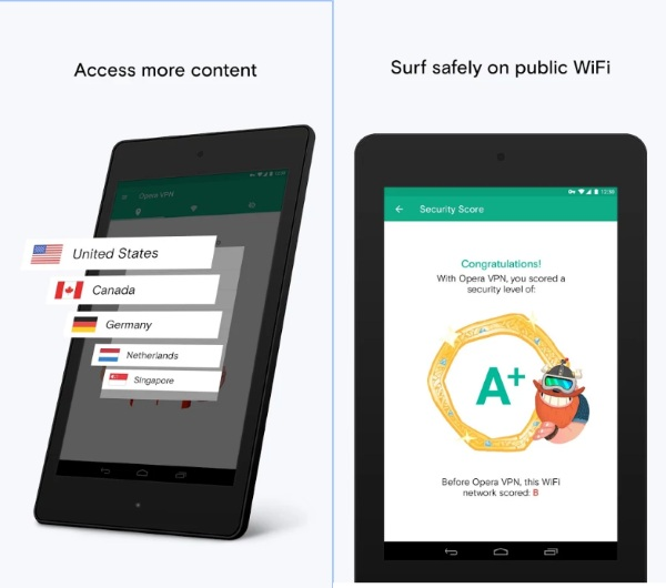 Opera VPN – online safety while your roam