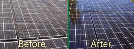 Solar panels washing before & after