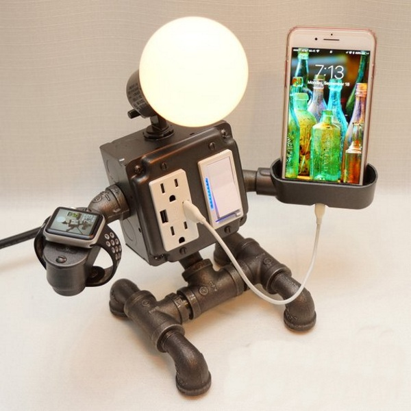 Robot Pipe Desk Lamp – let this guy hold your phone
